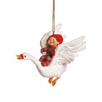 Babynisse dreng, på flyvende svane