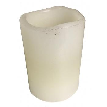 Hvid stearin LED lys, pust tænd og sluk ved pust 7,5Ø høj 15 cm