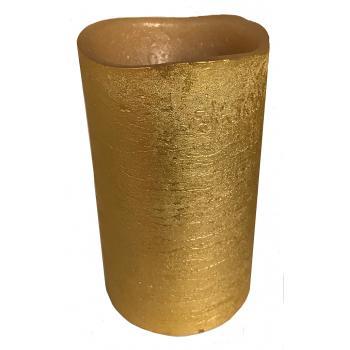 Guld stearin LED lys, pust tænd og sluk 7,5 cm. Ø  høj 13 cm.
