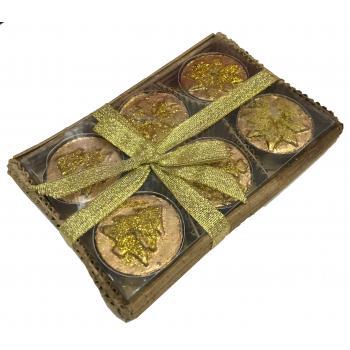Fyrfads lys stearin guld 3 motiver  (4cm ø) 6 stk i gaveæske