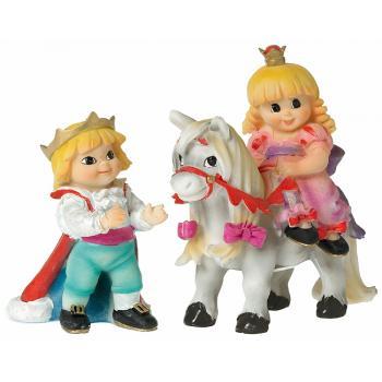 Prins og Prinsesse på hest (12 cm Høj) Poly