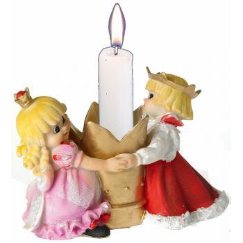 Prins og Prinsesse danser om lysestage til 20mm lys (9 cm Høj) Poly