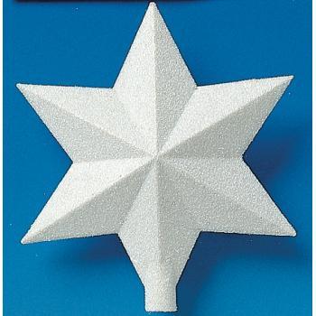 Hvid Plast stjerne med glimmer 23 cm